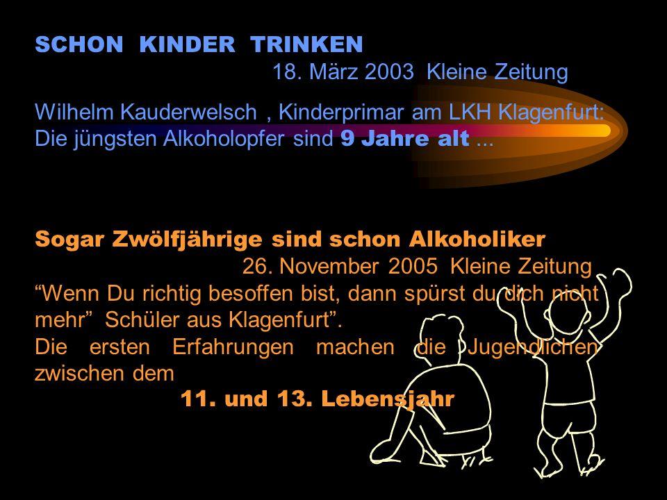 SCHON KINDER TRINKEN 18. März 2003 Kleine Zeitung. Wilhelm Kauderwelsch , Kinderprimar am LKH Klagenfurt: