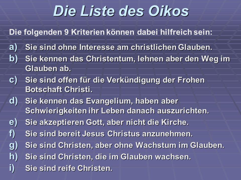 Die Liste des Oikos Die folgenden 9 Kriterien können dabei hilfreich sein: Sie sind ohne Interesse am christlichen Glauben.