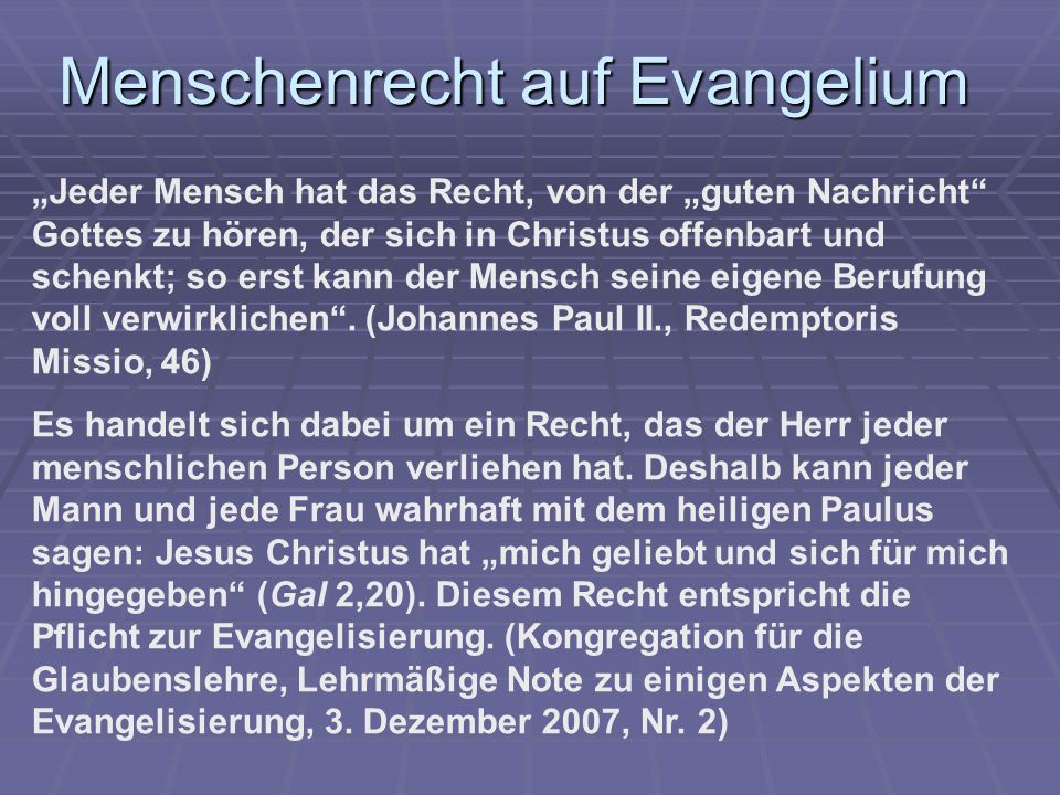 Menschenrecht auf Evangelium