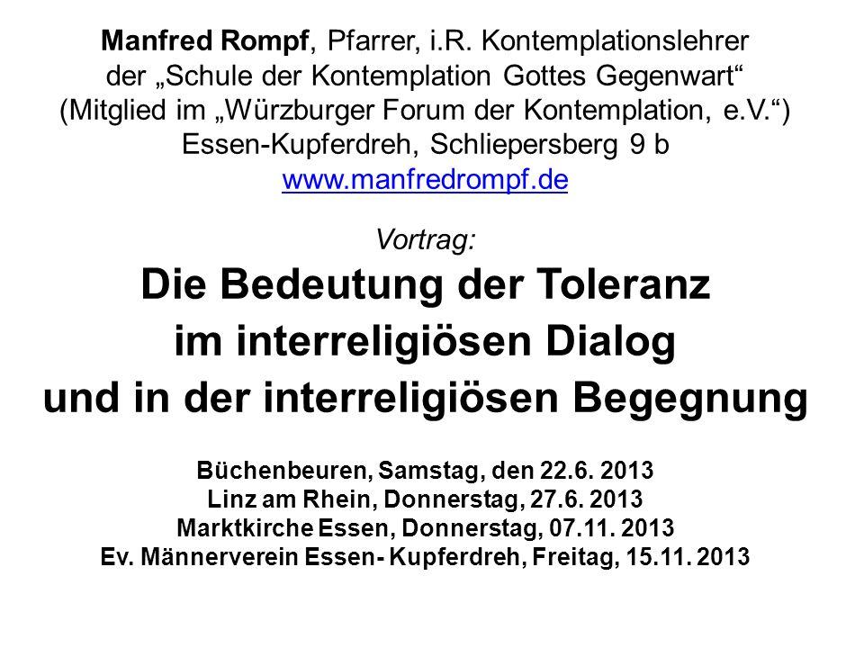 Die Bedeutung der Toleranz im interreligiösen Dialog