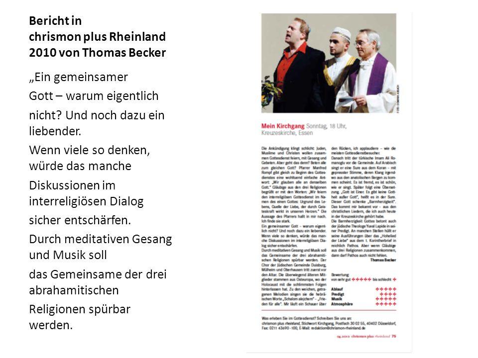 Bericht in chrismon plus Rheinland 2010 von Thomas Becker