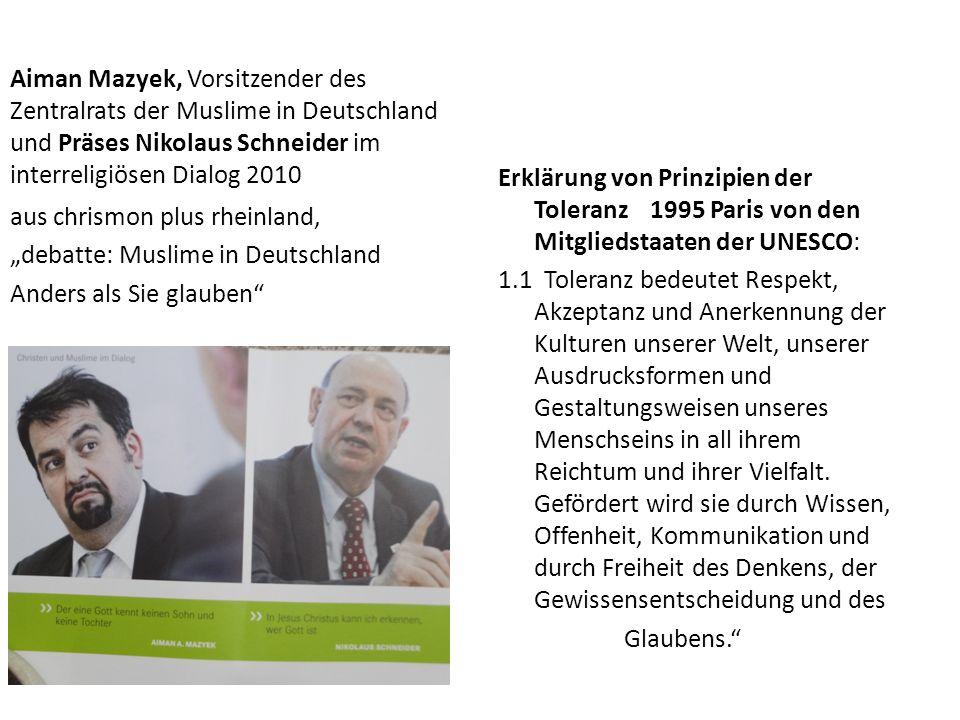 Aiman Mazyek, Vorsitzender des Zentralrats der Muslime in Deutschland und Präses Nikolaus Schneider im interreligiösen Dialog 2010