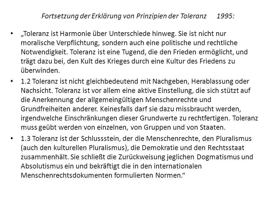 Fortsetzung der Erklärung von Prinzipien der Toleranz 1995:
