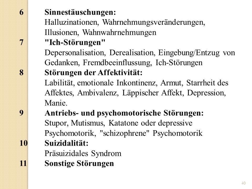 6 Sinnestäuschungen: Halluzinationen, Wahrnehmungsveränderungen, Illusionen, Wahnwahrnehmungen. 7 Ich-Störungen
