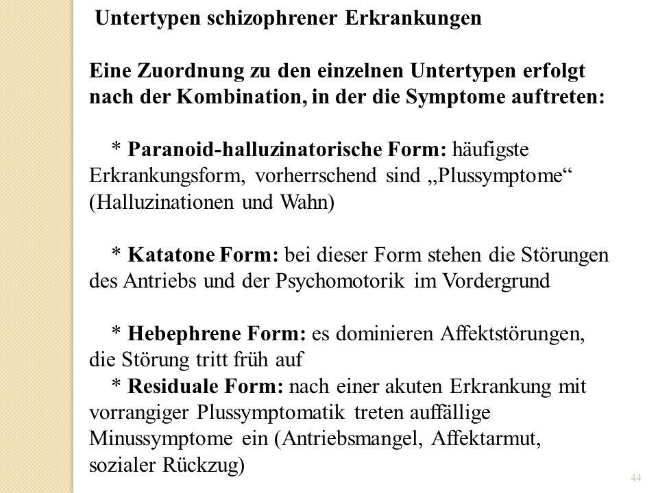 Untertypen schizophrener Erkrankungen