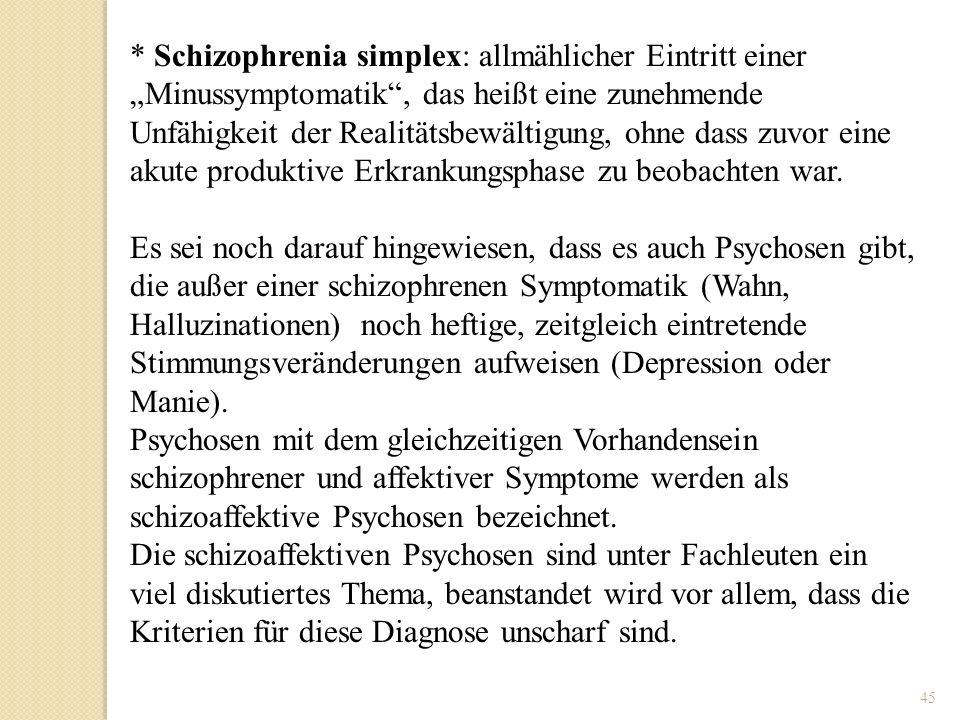 """* Schizophrenia simplex: allmählicher Eintritt einer """"Minussymptomatik , das heißt eine zunehmende Unfähigkeit der Realitätsbewältigung, ohne dass zuvor eine akute produktive Erkrankungsphase zu beobachten war."""