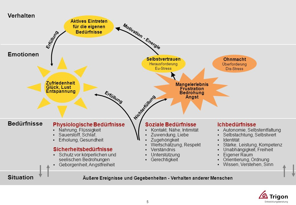 Verhalten Emotionen Bedürfnisse Situation Physiologische Bedürfnisse