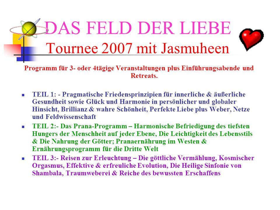 DAS FELD DER LIEBE Tournee 2007 mit Jasmuheen