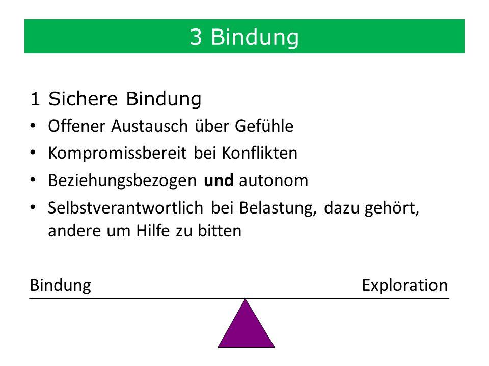 3 Bindung 1 Sichere Bindung Offener Austausch über Gefühle