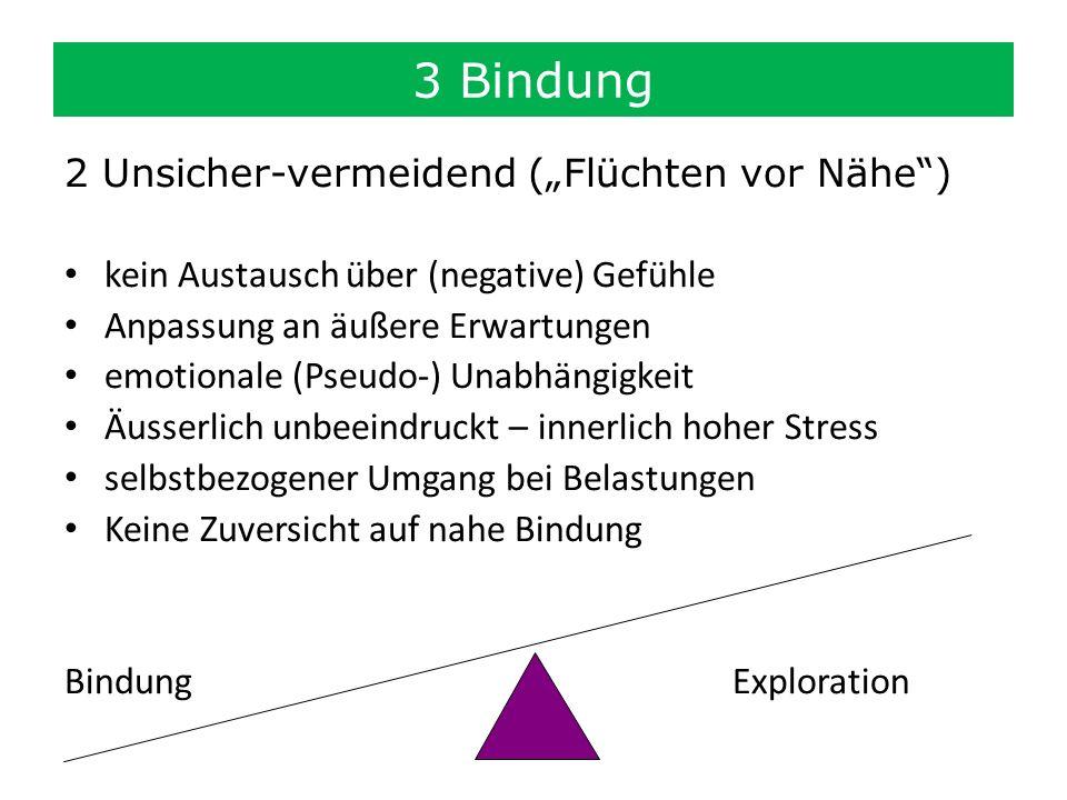 """3 Bindung 2 Unsicher-vermeidend (""""Flüchten vor Nähe )"""