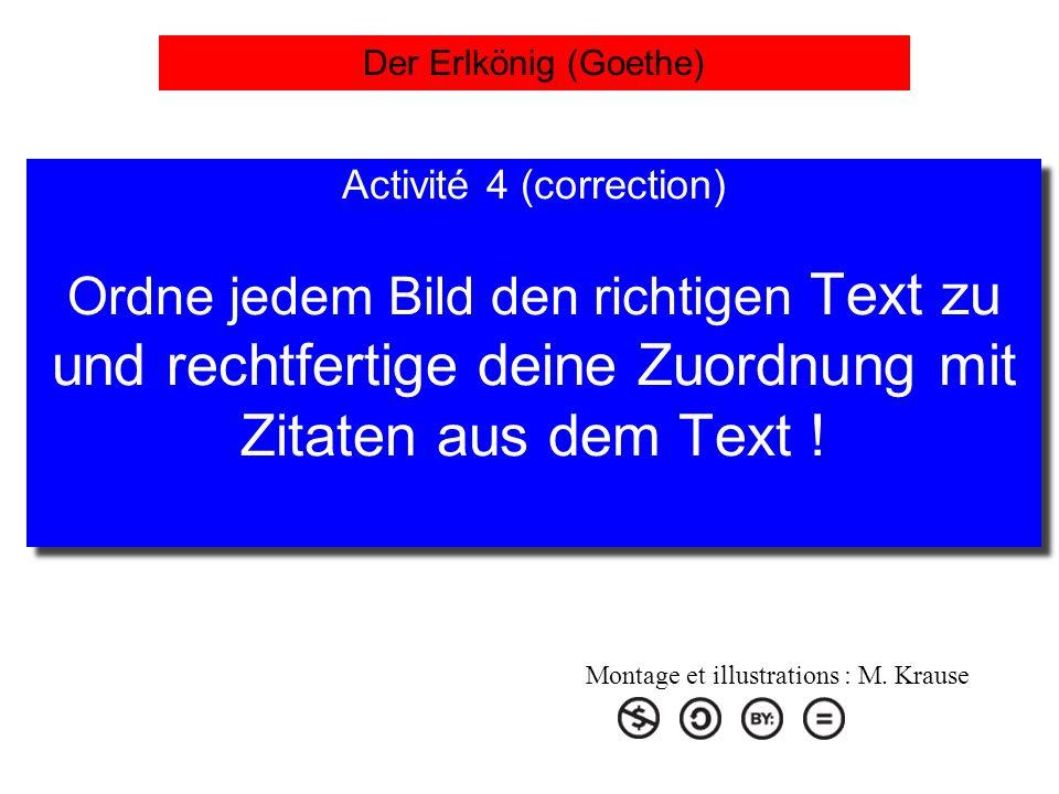 Der Erlkönig (Goethe) Activité 4 (correction) Ordne jedem Bild den richtigen Text zu und rechtfertige deine Zuordnung mit Zitaten aus dem Text !