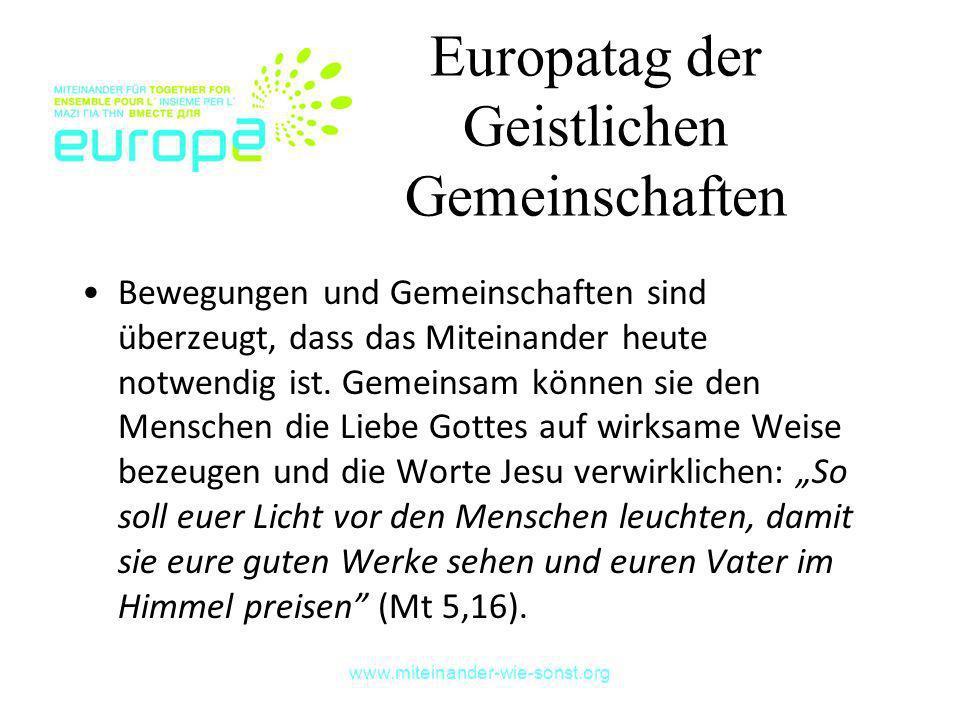 Europatag der Geistlichen Gemeinschaften