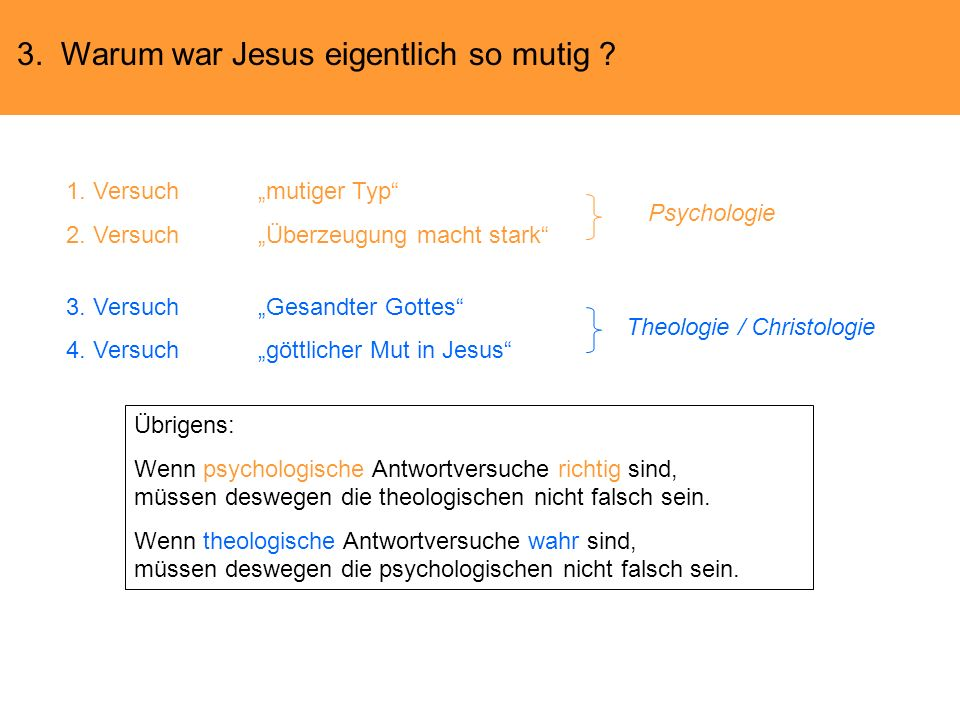 3. Warum war Jesus eigentlich so mutig