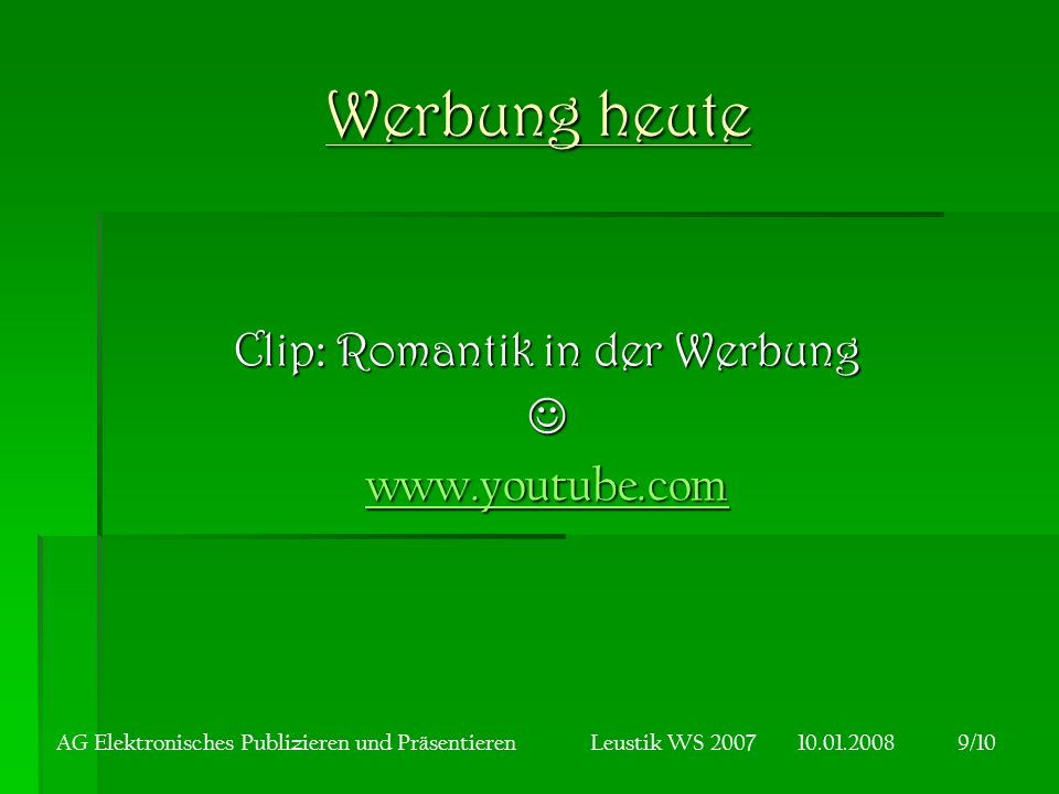 Clip: Romantik in der Werbung  www.youtube.com