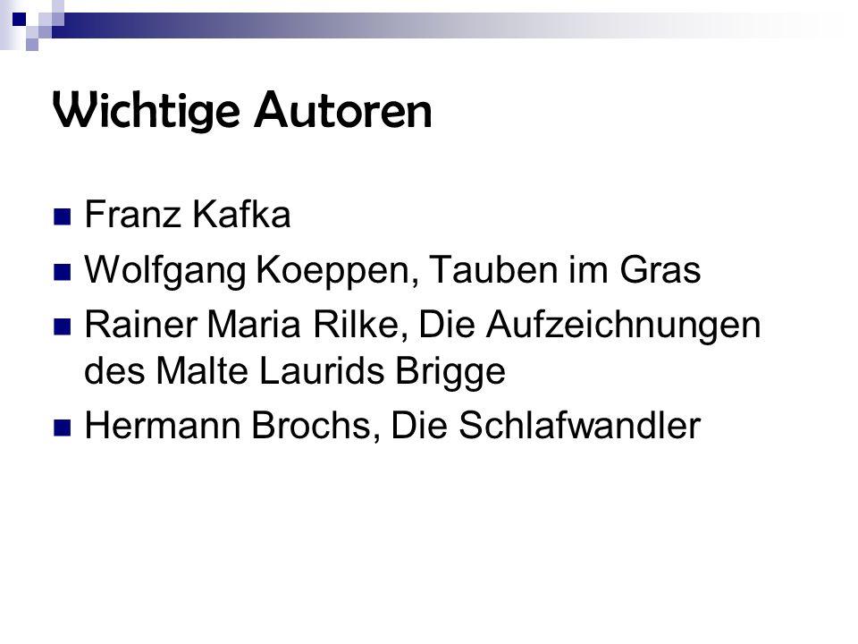 Wichtige Autoren Franz Kafka Wolfgang Koeppen, Tauben im Gras