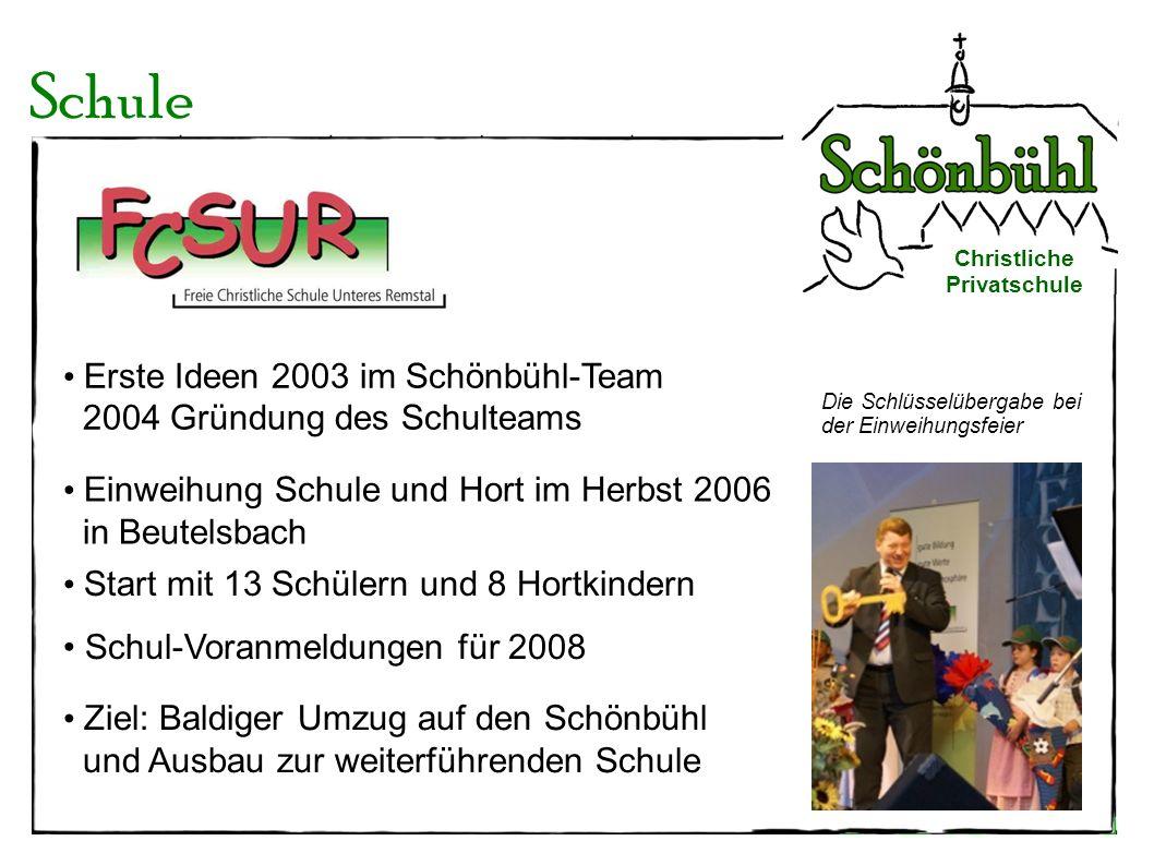 Schule Erste Ideen 2003 im Schönbühl-Team 2004 Gründung des Schulteams
