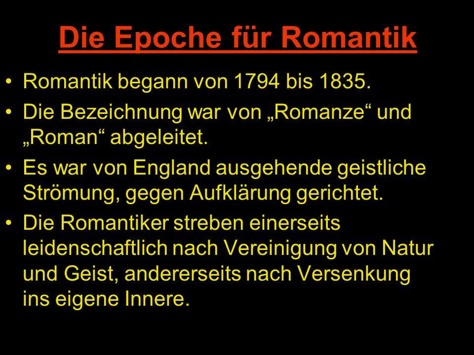 Die Epoche für Romantik