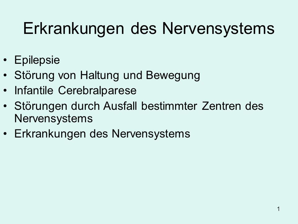 Erkrankungen des Nervensystems