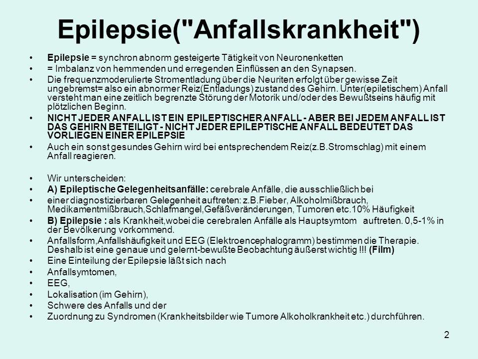 Epilepsie( Anfallskrankheit )