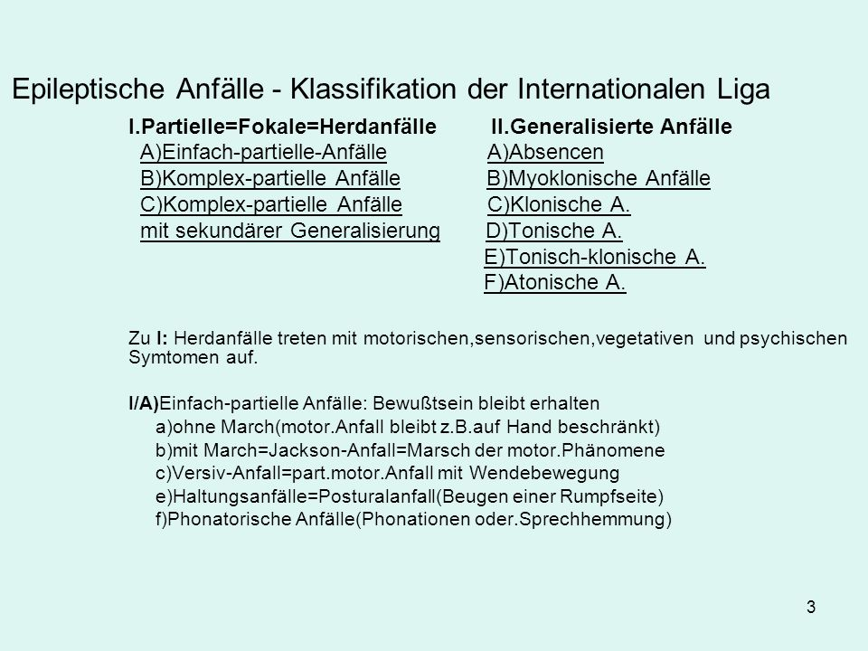 Epileptische Anfälle - Klassifikation der Internationalen Liga
