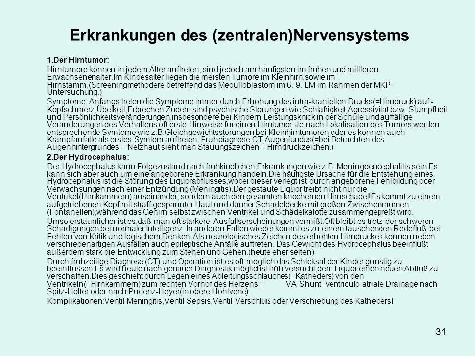 Erkrankungen des (zentralen)Nervensystems