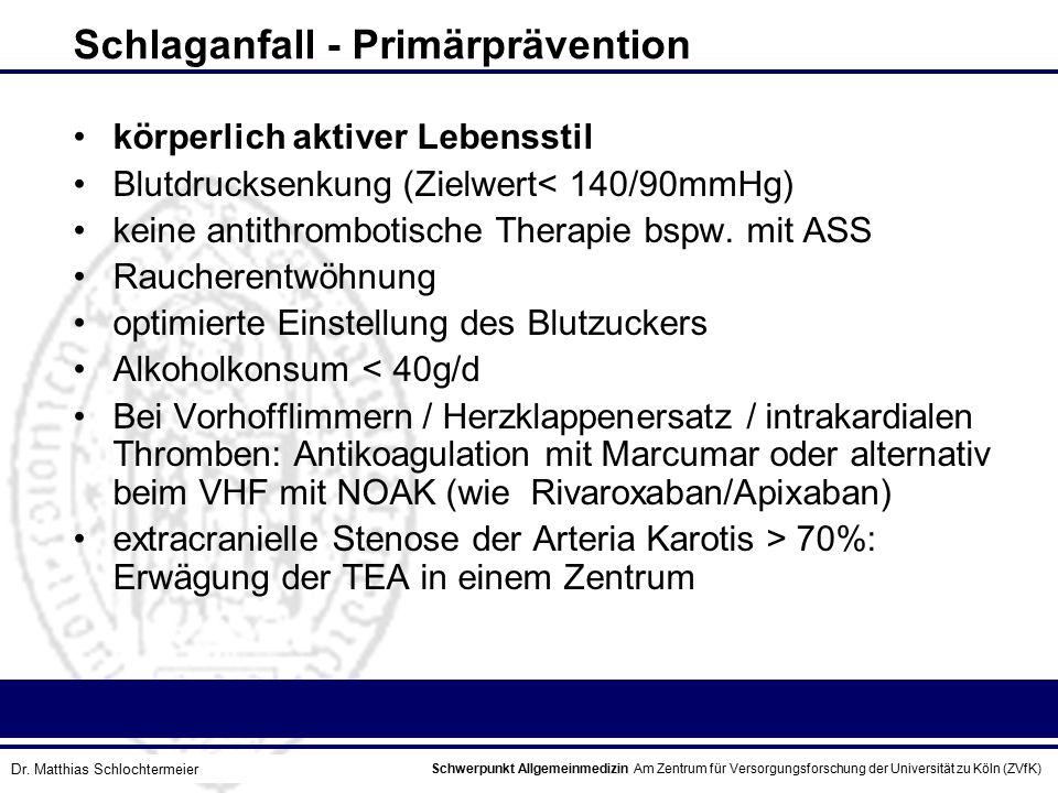 Schlaganfall - Primärprävention