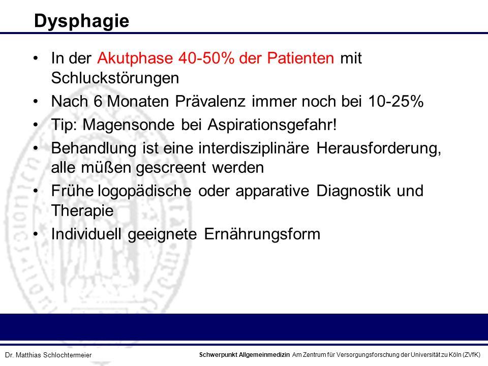 Dysphagie In der Akutphase 40-50% der Patienten mit Schluckstörungen