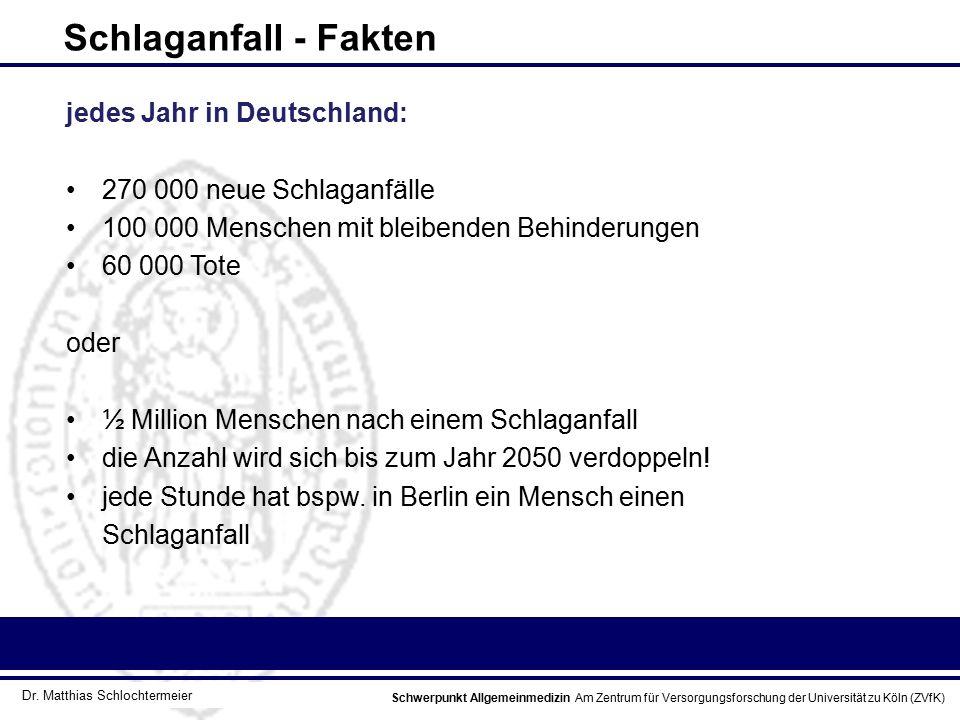 Schlaganfall - Fakten jedes Jahr in Deutschland: