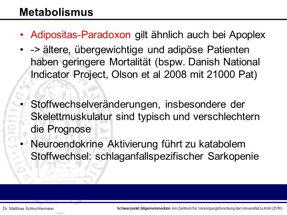 Metabolismus Adipositas-Paradoxon gilt ähnlich auch bei Apoplex