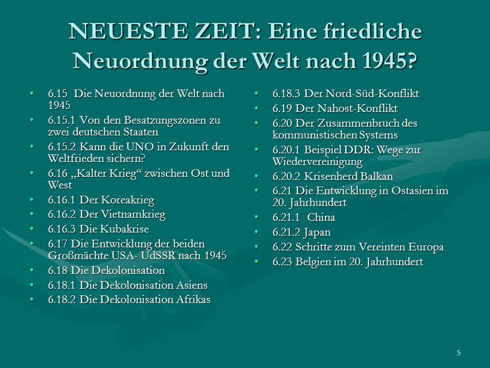 NEUESTE ZEIT: Eine friedliche Neuordnung der Welt nach 1945