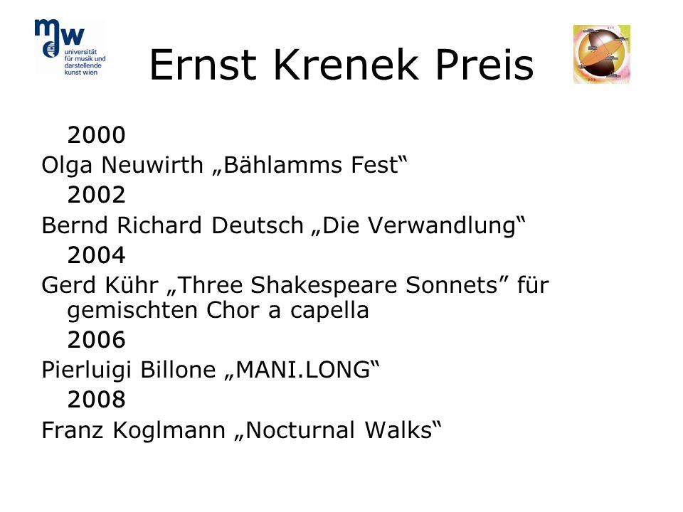 "Ernst Krenek Preis 2000 Olga Neuwirth ""Bählamms Fest 2002"