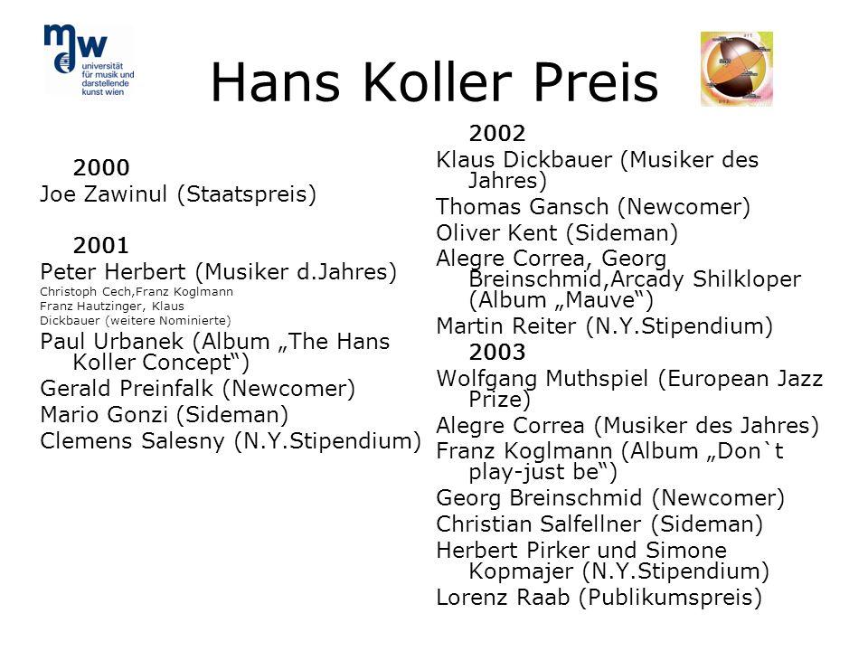 Hans Koller Preis 2002 Klaus Dickbauer (Musiker des Jahres)