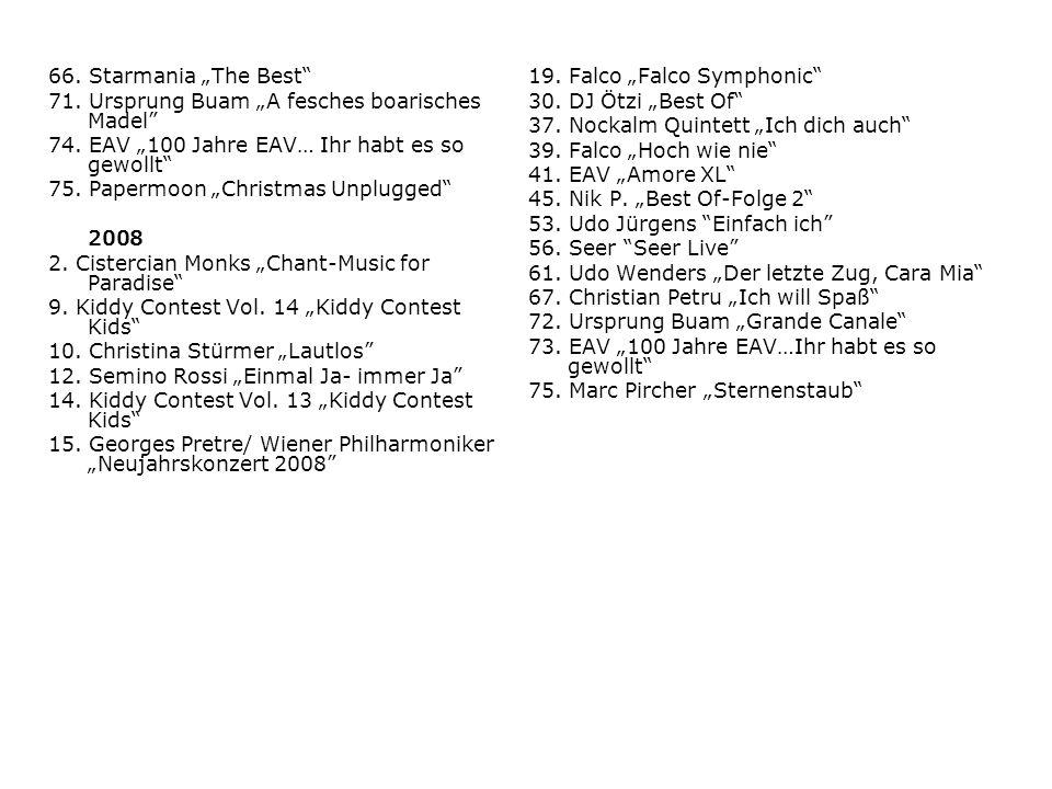 """66. Starmania """"The Best 71. Ursprung Buam """"A fesches boarisches Madel 74. EAV """"100 Jahre EAV… Ihr habt es so gewollt"""