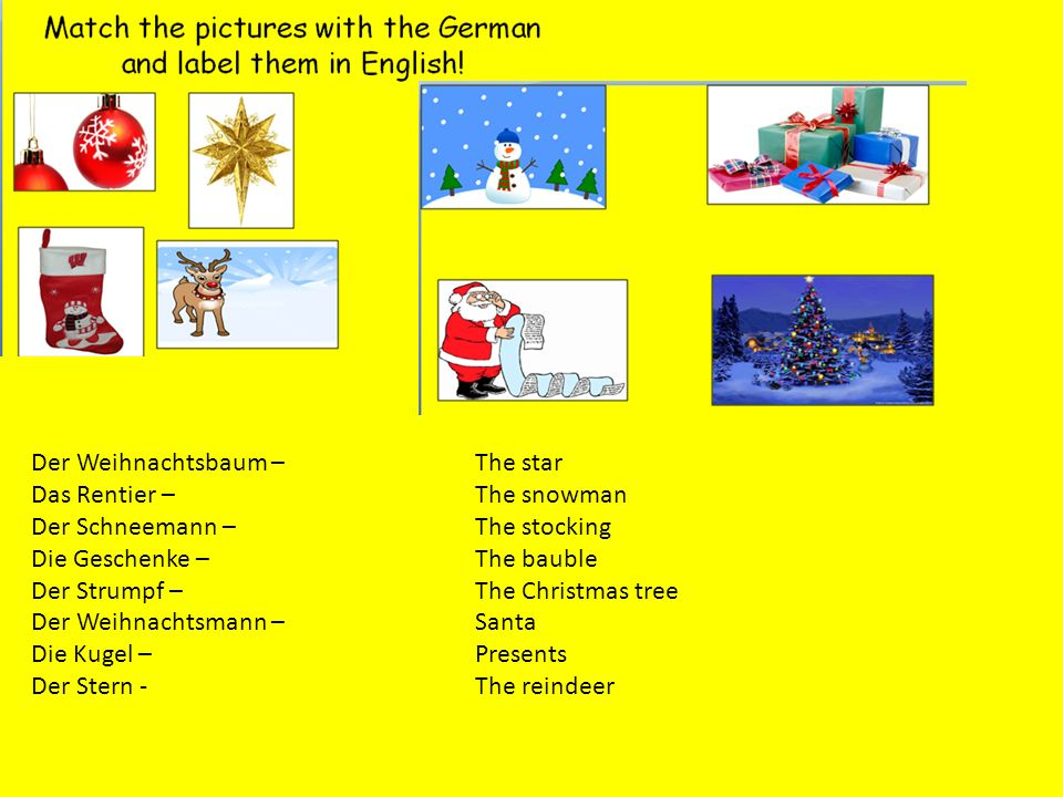 Der Weihnachtsbaum – Das Rentier – Der Schneemann – Die Geschenke – Der Strumpf – Der Weihnachtsmann –