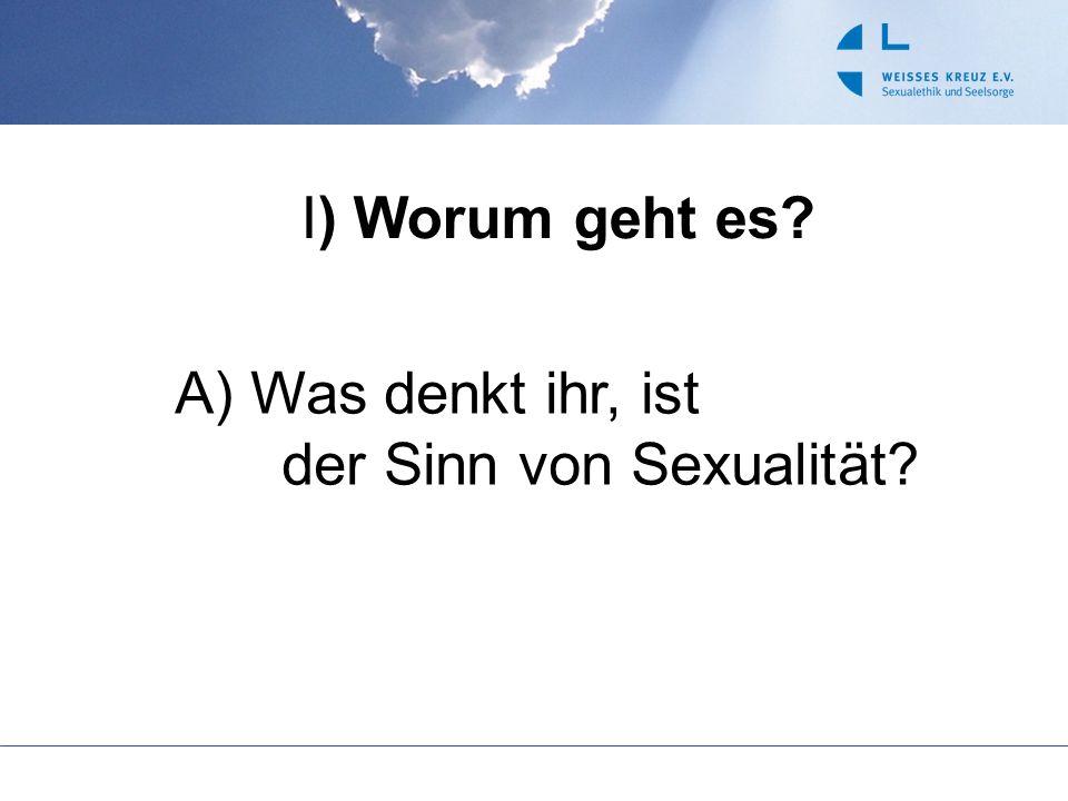 I) Worum geht es A) Was denkt ihr, ist der Sinn von Sexualität