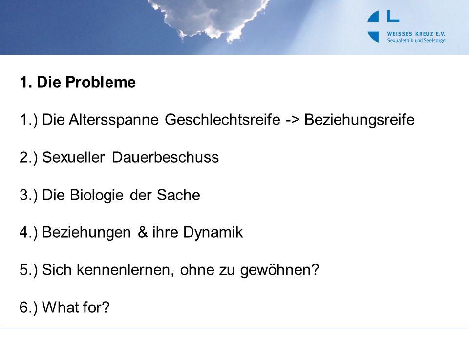 1. Die Probleme 1.) Die Altersspanne Geschlechtsreife -> Beziehungsreife. 2.) Sexueller Dauerbeschuss.