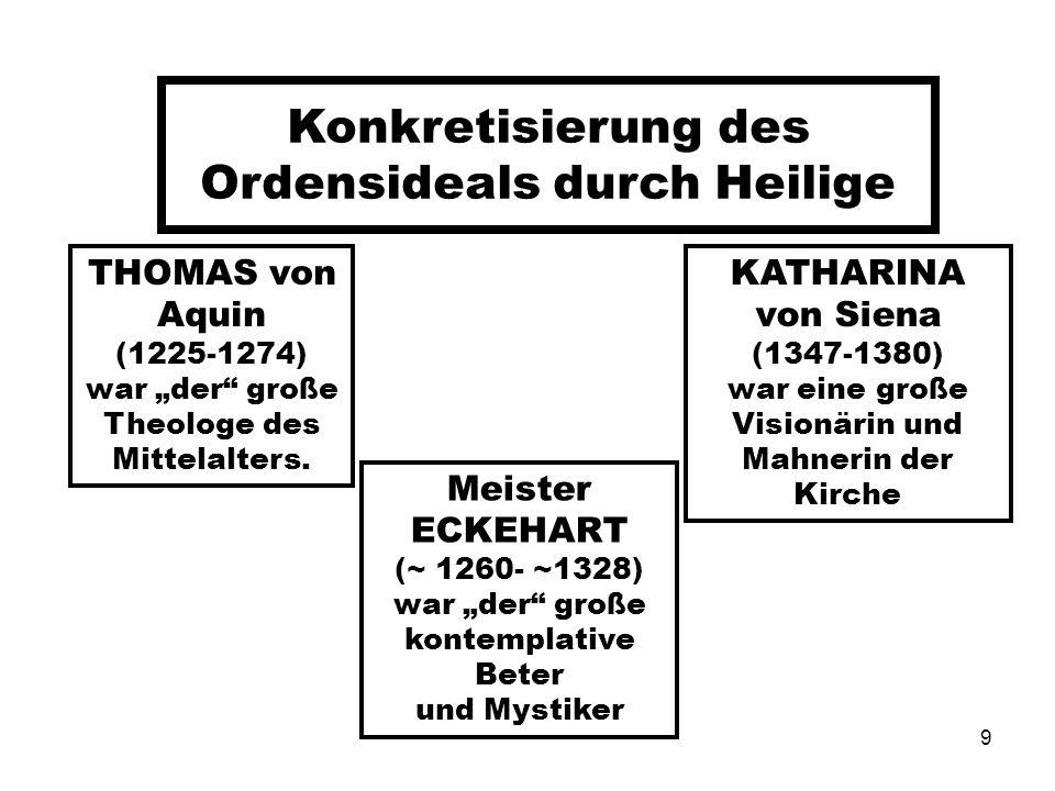 Konkretisierung des Ordensideals durch Heilige