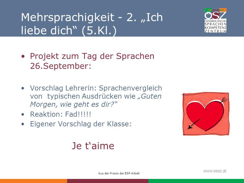 """Mehrsprachigkeit - 2. """"Ich liebe dich (5.Kl.)"""