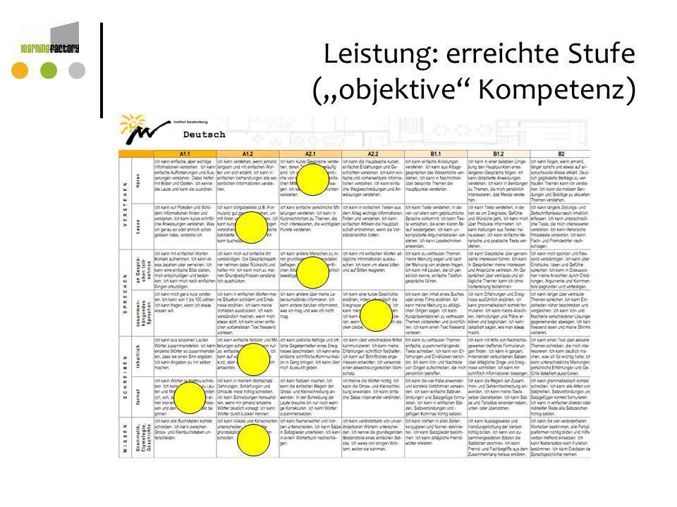 """Leistung: erreichte Stufe (""""objektive Kompetenz)"""
