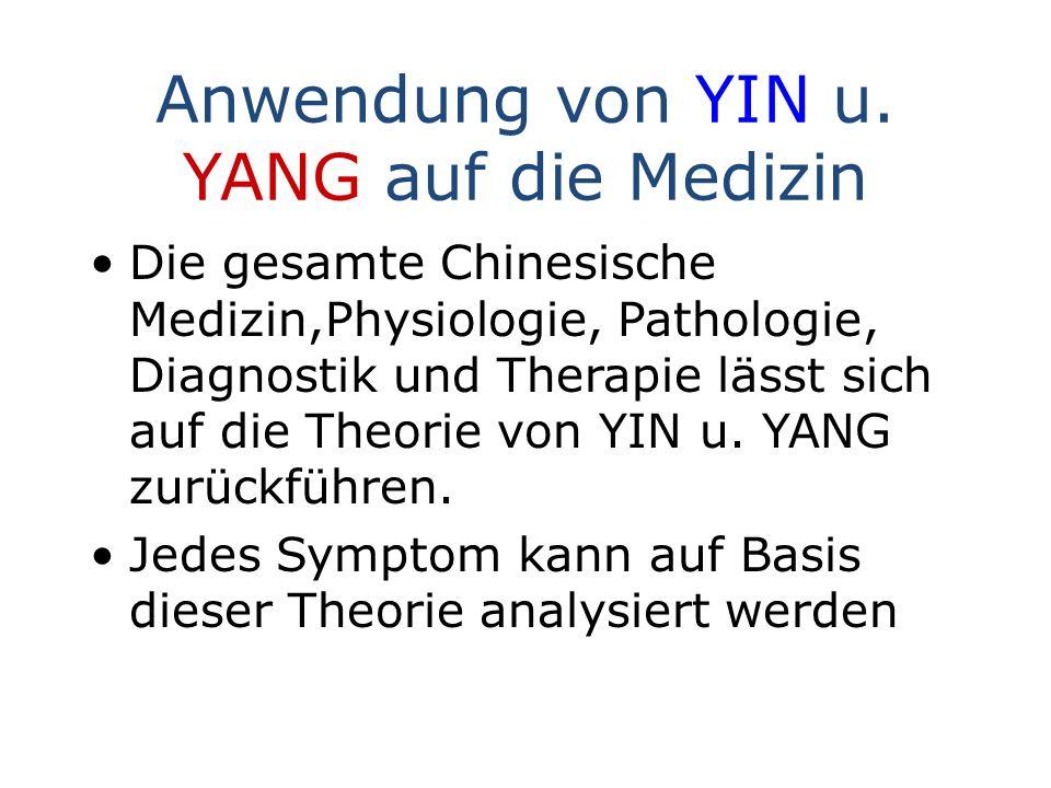 Anwendung von YIN u. YANG auf die Medizin