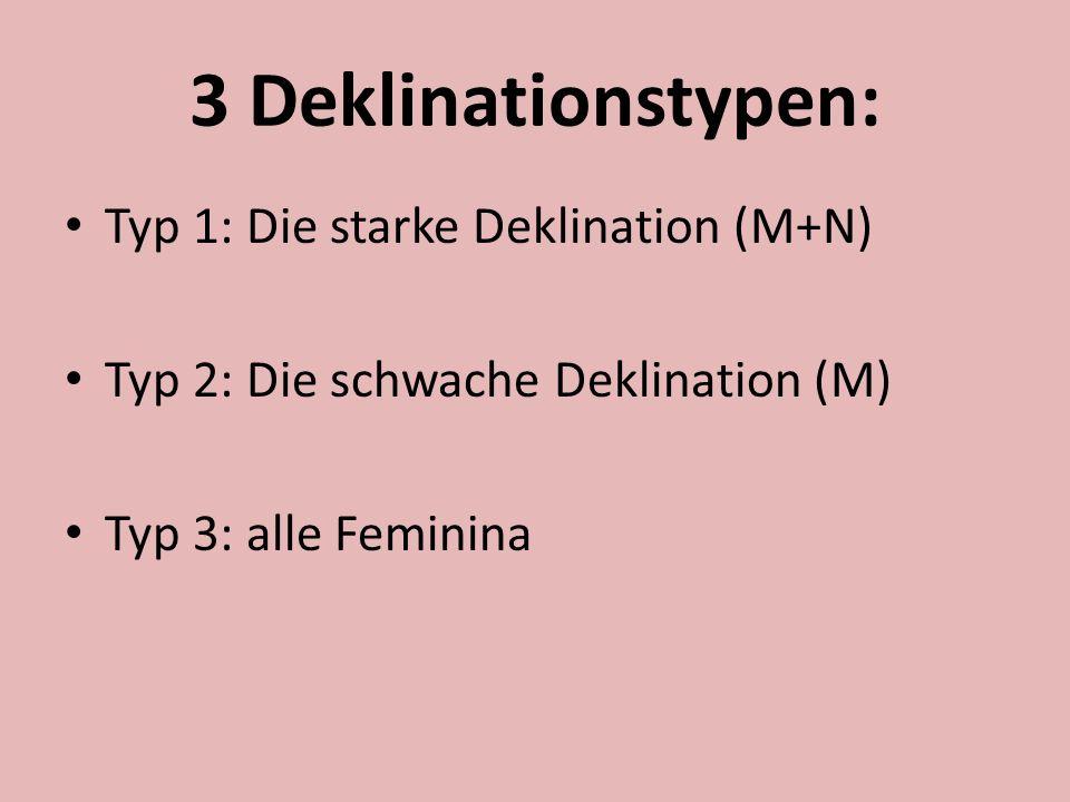3 Deklinationstypen: Typ 1: Die starke Deklination (M+N)