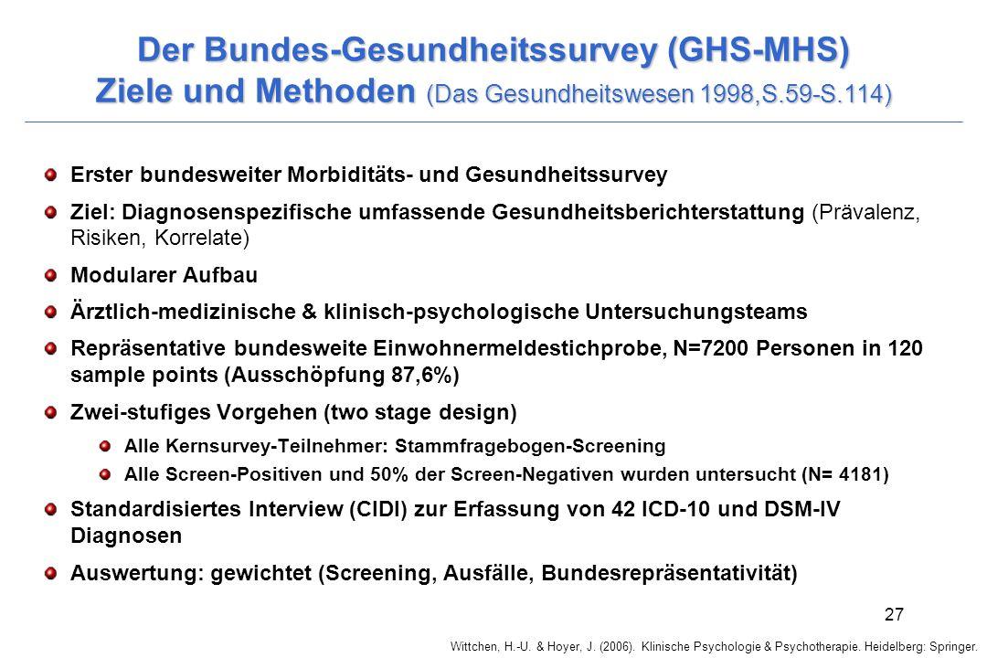 Der Bundes-Gesundheitssurvey (GHS-MHS) Ziele und Methoden (Das Gesundheitswesen 1998,S.59-S.114)