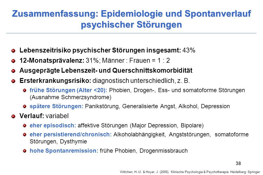 Zusammenfassung: Epidemiologie und Spontanverlauf psychischer Störungen