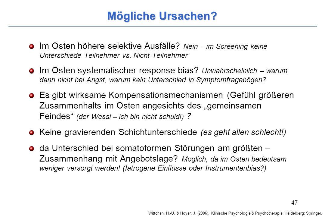 Mögliche Ursachen Im Osten höhere selektive Ausfälle Nein – im Screening keine Unterschiede Teilnehmer vs. Nicht-Teilnehmer.