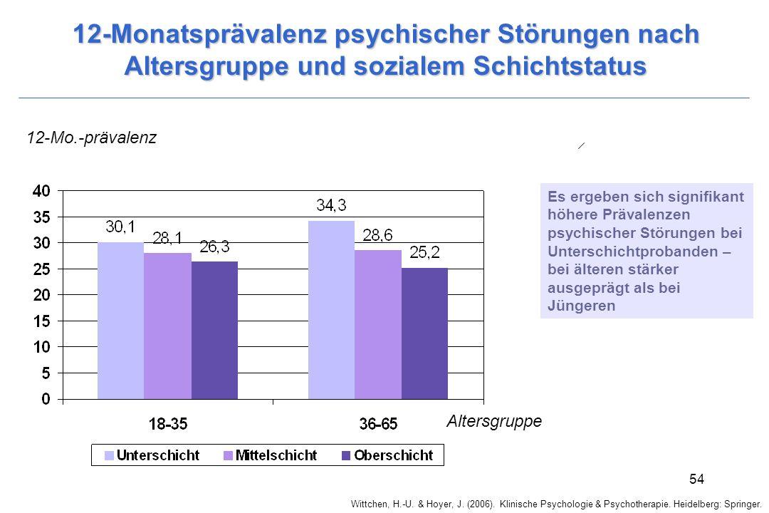 12-Monatsprävalenz psychischer Störungen nach Altersgruppe und sozialem Schichtstatus