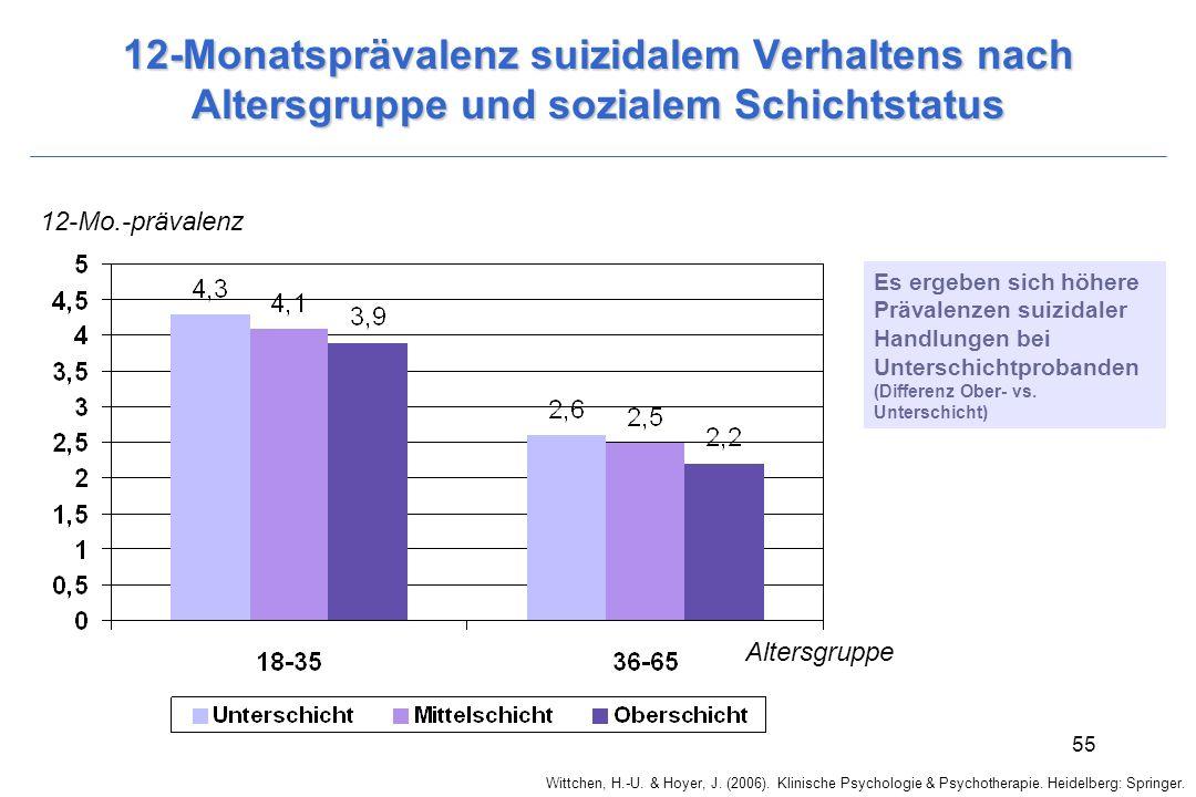 12-Monatsprävalenz suizidalem Verhaltens nach Altersgruppe und sozialem Schichtstatus