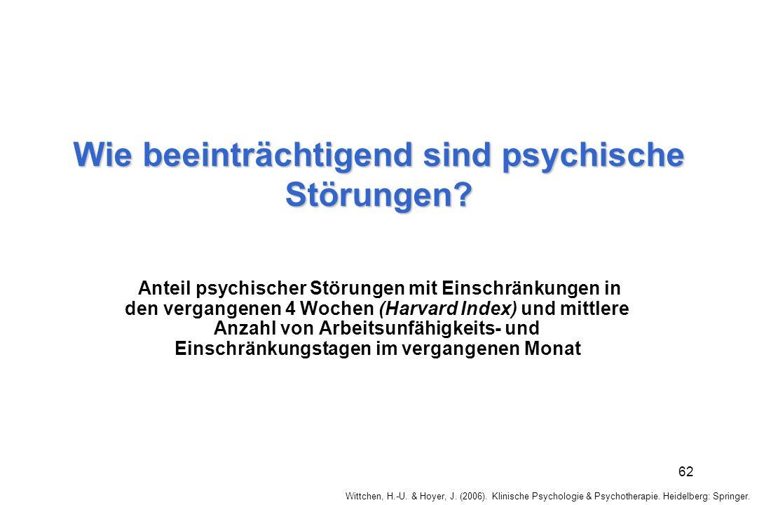 Wie beeinträchtigend sind psychische Störungen