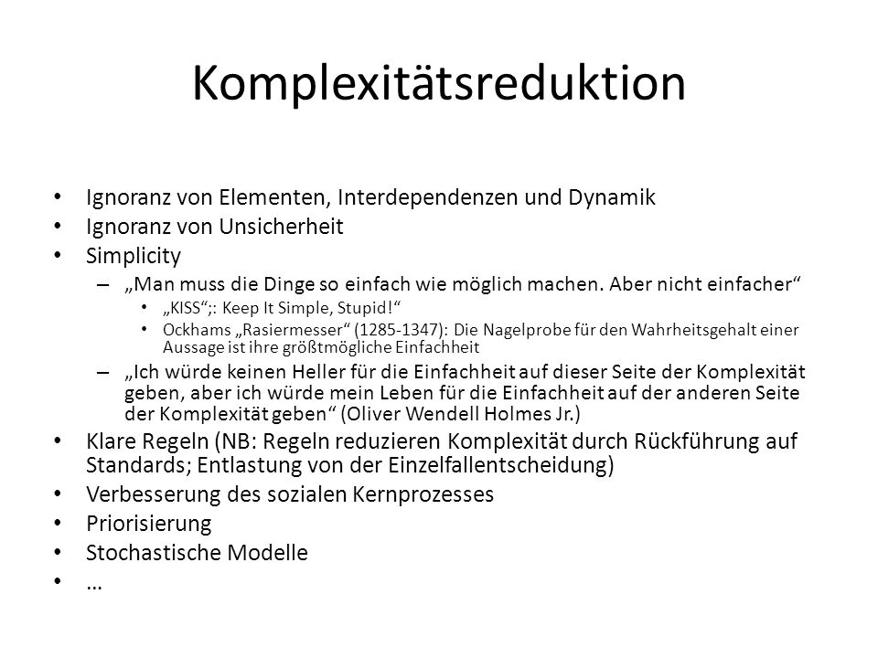 Komplexitätsreduktion
