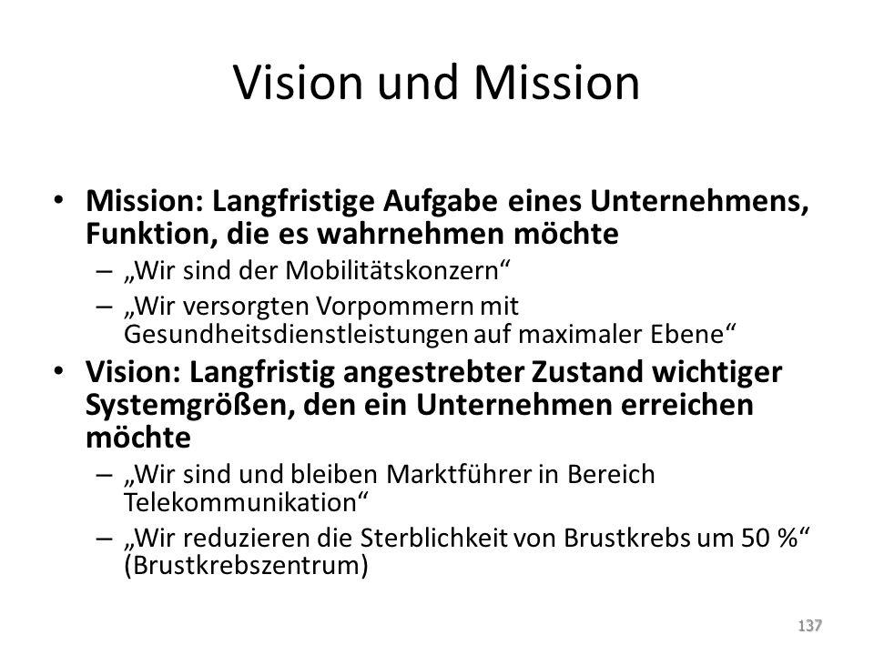 Vision und Mission Mission: Langfristige Aufgabe eines Unternehmens, Funktion, die es wahrnehmen möchte.