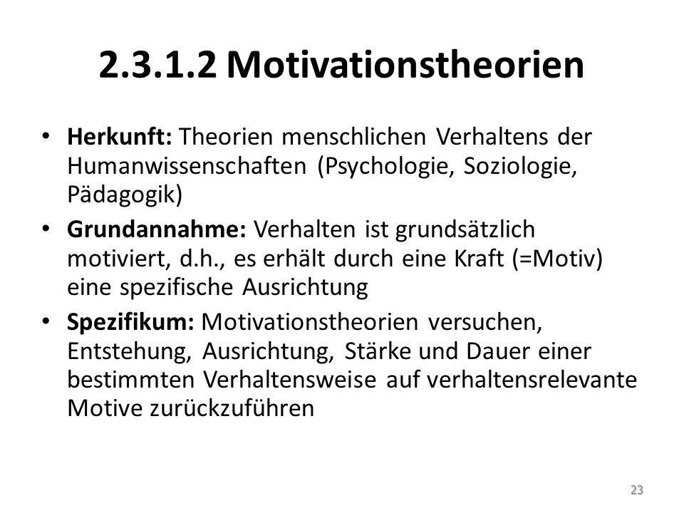 2.3.1.2 Motivationstheorien Herkunft: Theorien menschlichen Verhaltens der Humanwissenschaften (Psychologie, Soziologie, Pädagogik)